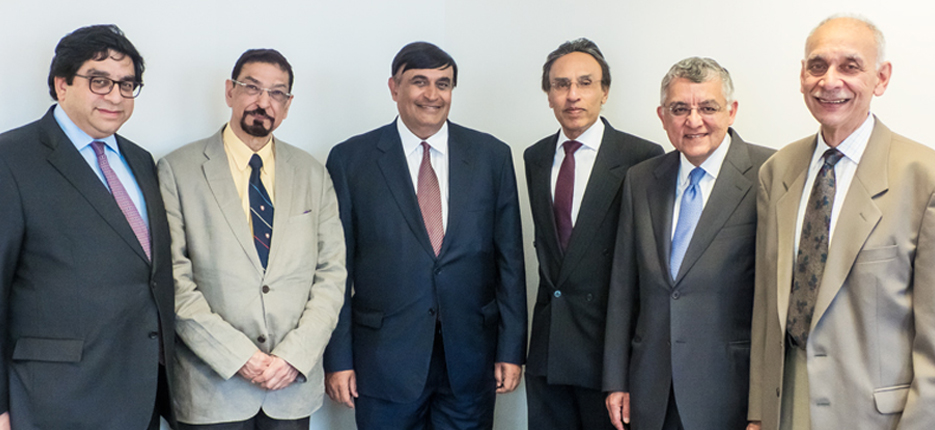 The IIS Board of Governors (1995-2020). From left to right: Mr Naguib Kheraj, Dr Mohamed Keshavjee, Dr Shafik Sachedina, Dr Aziz Esmail, Mr Zauhar Meghji, Professor Afzal Ahmed.
