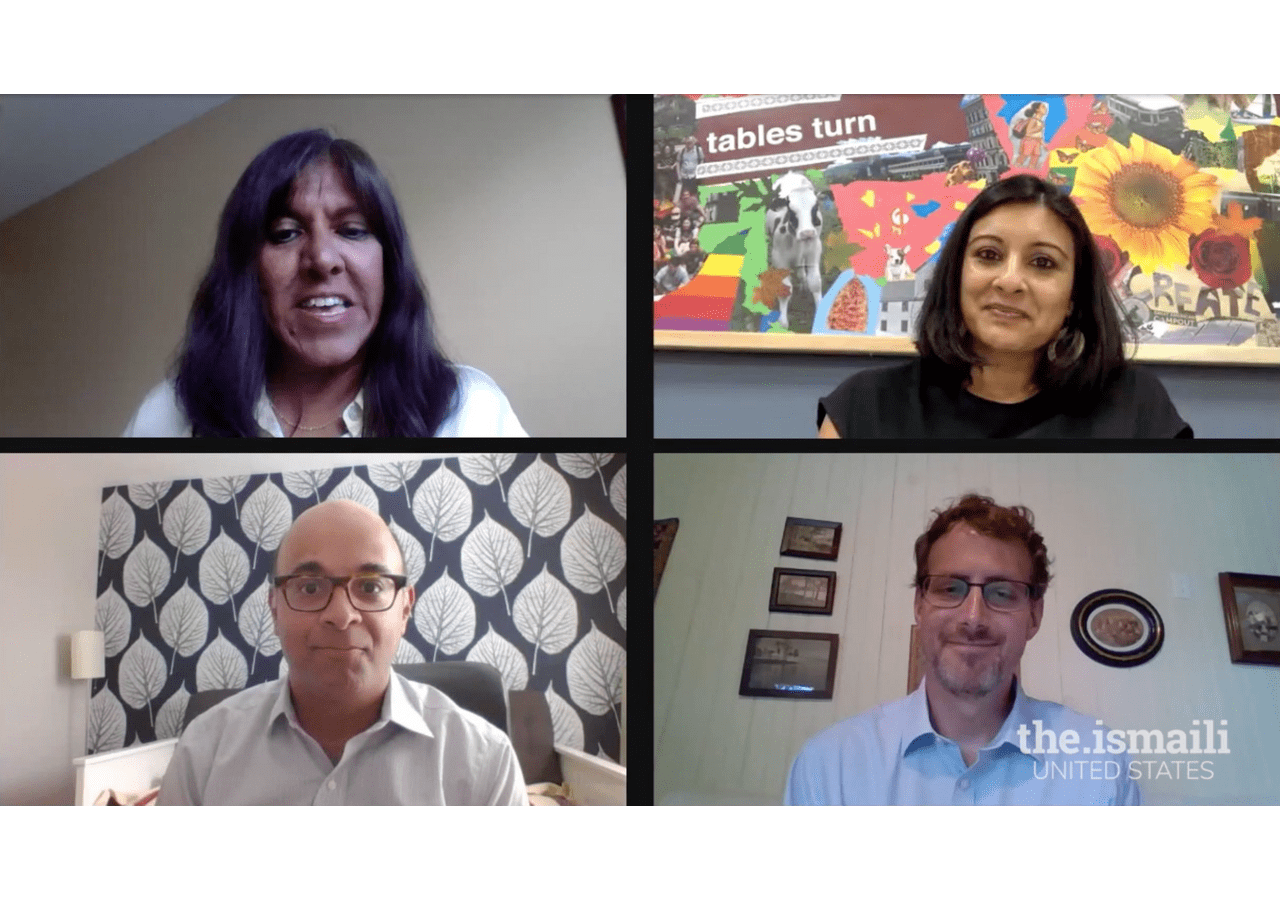 Representatives from Oxfam, UNICEF, and the Aga Khan Foundation in a virtual panel discussion, on World Humanitarian Day.  The session on the topic, The Future of International Development, was moderated by Sherina Ebrahim (top left)