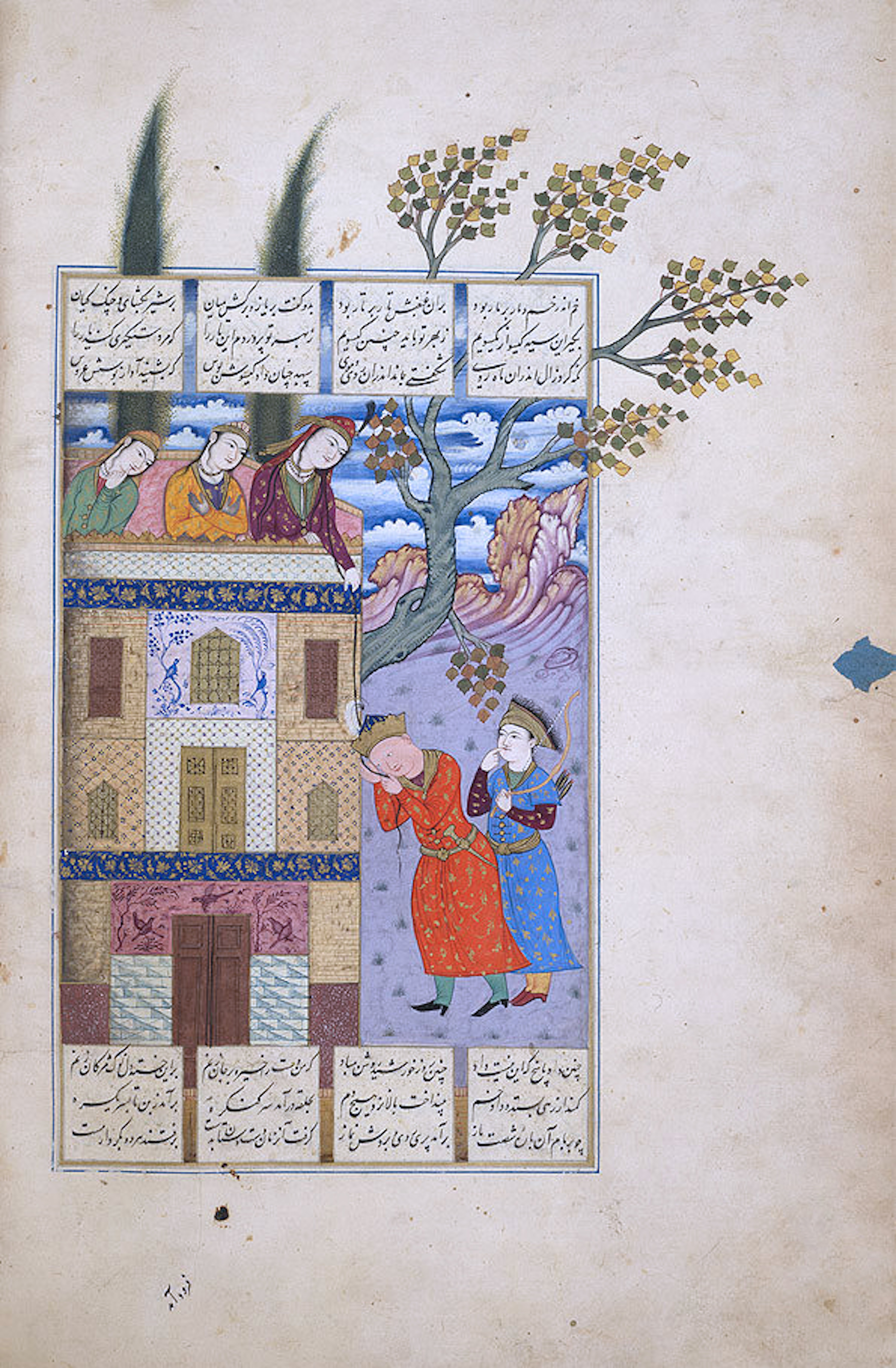 Rudabeh, letting her hair down for her lover Zal, a prince from Kabul, from Ferdowsi's epic tale, the Shahnameh. This story is considered to be the basis for the Grimm Brothers fairy tale about Rapunzel.
