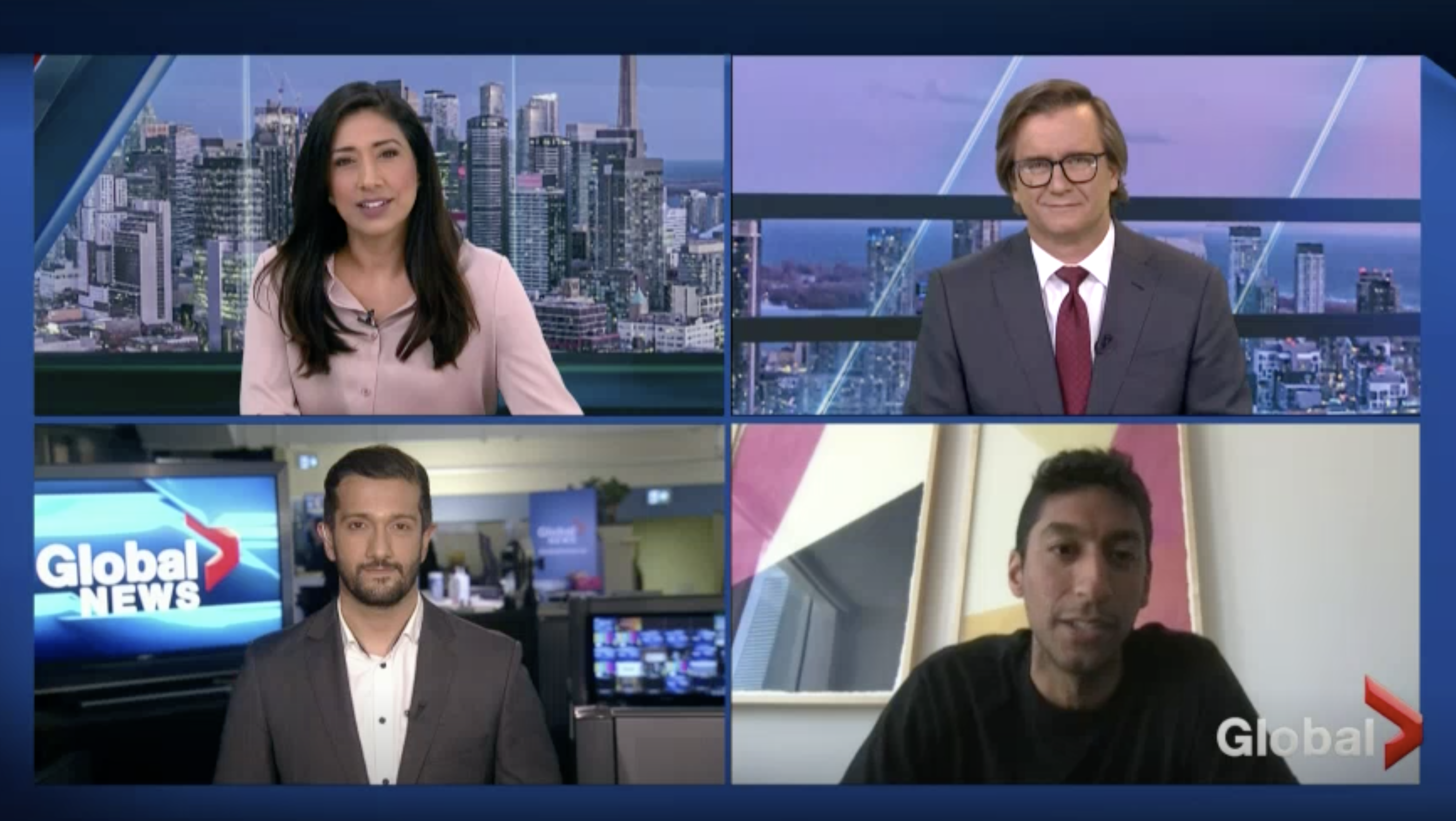 Zain appeared as a guest on a news broadcast hosted by Global News Toronto anchor Farah Nasser, along with reporter Kamil Karamali and Farah's co-anchor Alan Carter, to discuss his texting tool.