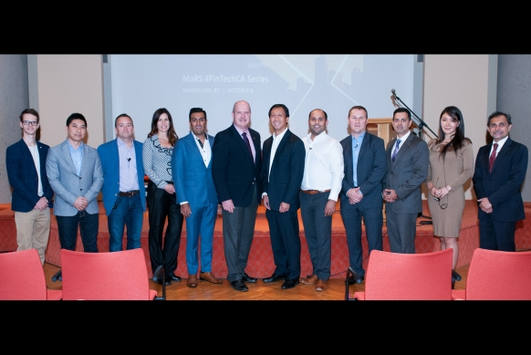 Minister Mike de Jong, MaRS FinTech Head Adam Nanjee, and Ismaili Council President Samir Manji with panelists and speakers at the MaRS FinTech event. Sultan Bhaloo