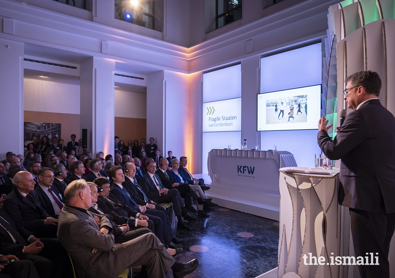 """Professor Dr Joachim Nagel, Member of the Executive Board of KfW, addresses guests gathered at the event entitled """"Fragile States Thinking Ahead"""" in Berlin."""