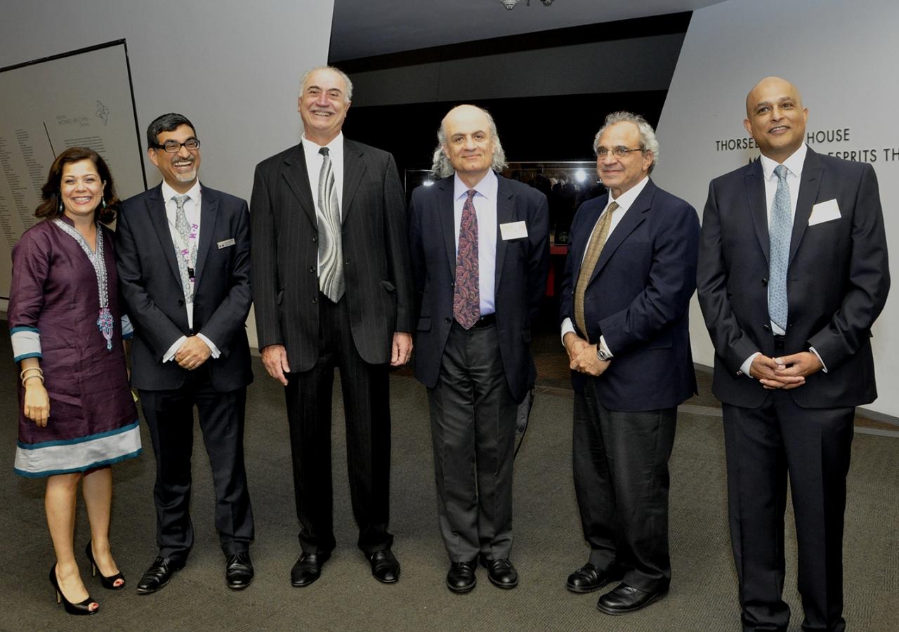 Professor Nasser Rabbat with Dr Ruba Kana'an (Aga Khan Museum), Xeres Mazda (ROM), Professor George Dmitri Sawa, Dan Rahimi (ROM), and Professor Zulfikar Hirji. Ibrahim Meru