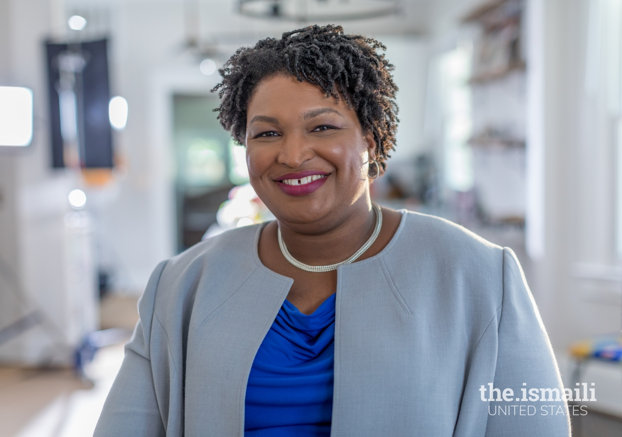 Ms. Stacey Abrams, politician, lawyer, voting rights activist, spoke on National Voter Registration Day on an Ismaili Jamatkhana and Center program.