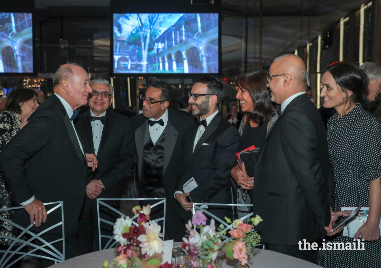 Prince Amyn meets with leaders of the Ismaili Council for the USA and Aga Khan Foundation USA at the 2018 Hadrian Gala in New York City.
