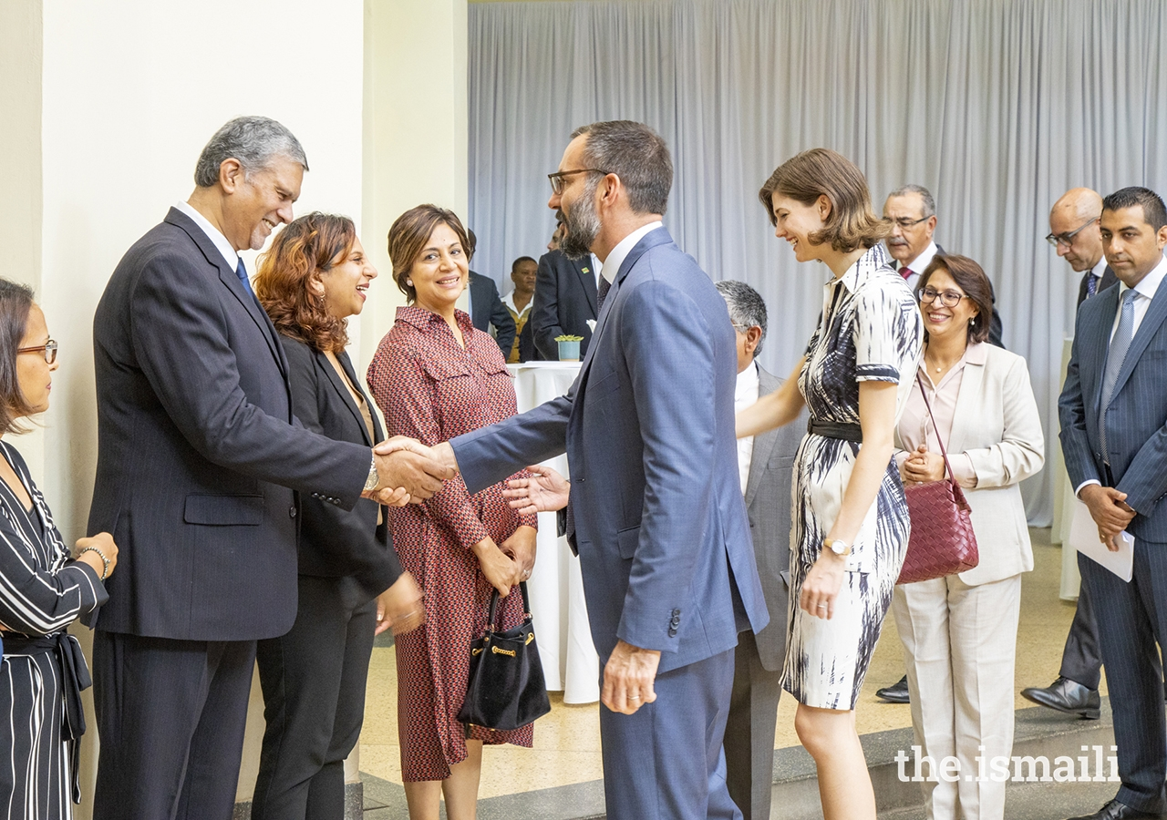 Prince Rahim and Princess Salwa meet leaders from the Ismaili Council for Kenya at a reception held at Town Jamatkhana on the occasion of their visit to the country.