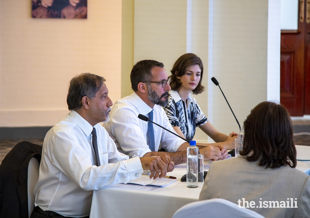 Prince Rahim, Chair of the AKDN Environment and Climate Committee, addresses AKDN agencies and key external stakeholders and partners in the environmental field at a Roundtable meeting held at Town Jamatkhana, to discuss progress and the potential for enhanced partnerships and joint action.