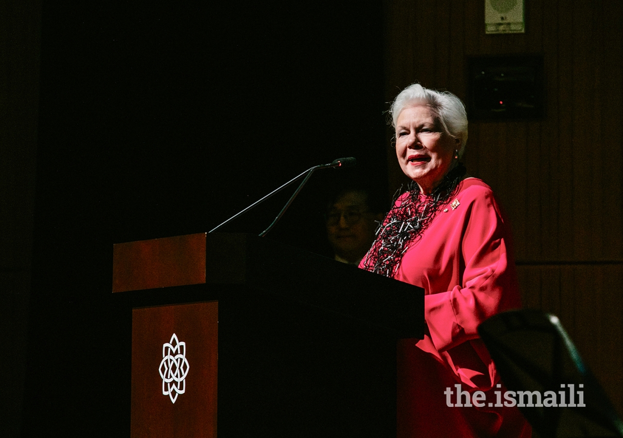"""The Honourable Elizabeth Dowdeswell, Lieutenant Governor of Ontario, shared remarks during the premiere and hoped that visitors would """"see within the territories of the Fatimid caliphate… a pluralistic society where arts of all kinds flourished."""""""