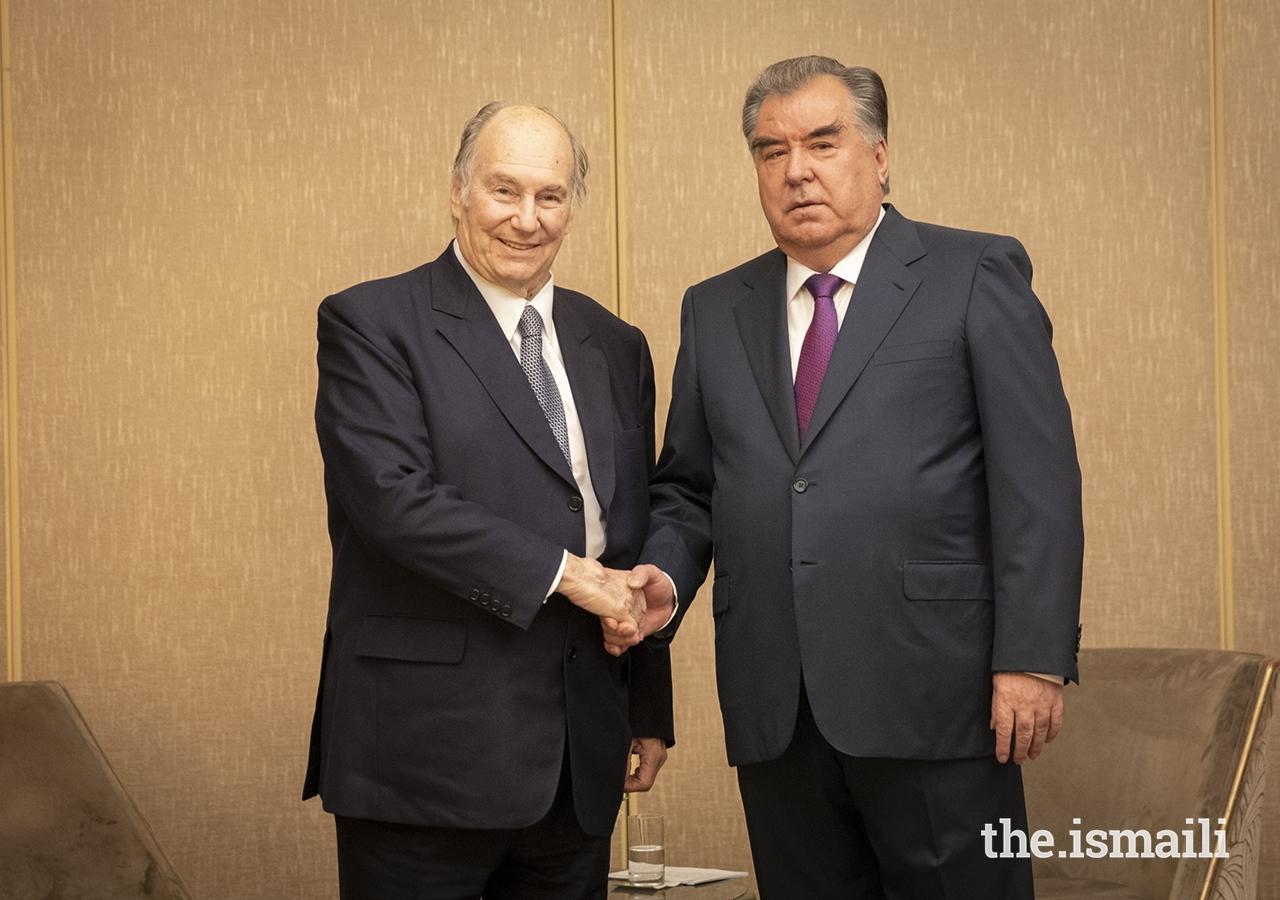 Mawlana Hazar Imam with President Rahmon of Tajikistan ahead of the Paris Peace Forum.