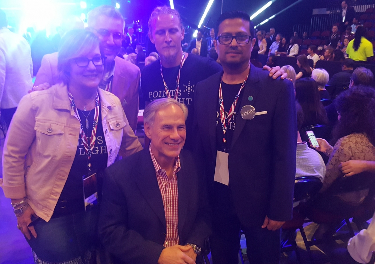 [From left] Kat Creech (honouree from Houston), Cameron Waldner (CEO, Volunteer Houston), Zachary Dearing (honouree from Rockport, TX), and Southwest Council President Murad Ajani along with Texas Governor Honourable Greg Abbott