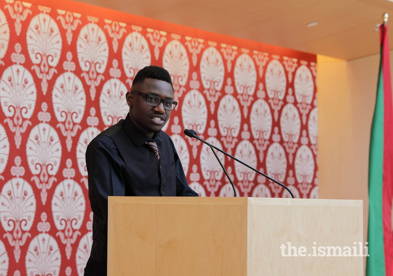 """Kelvin Nduma, an Aga Khan Academy graduate and Ontario tuition waiver beneficiary, talked about the impact of quality education in his life, saying, """"I am a beacon of hope to my family and community."""""""