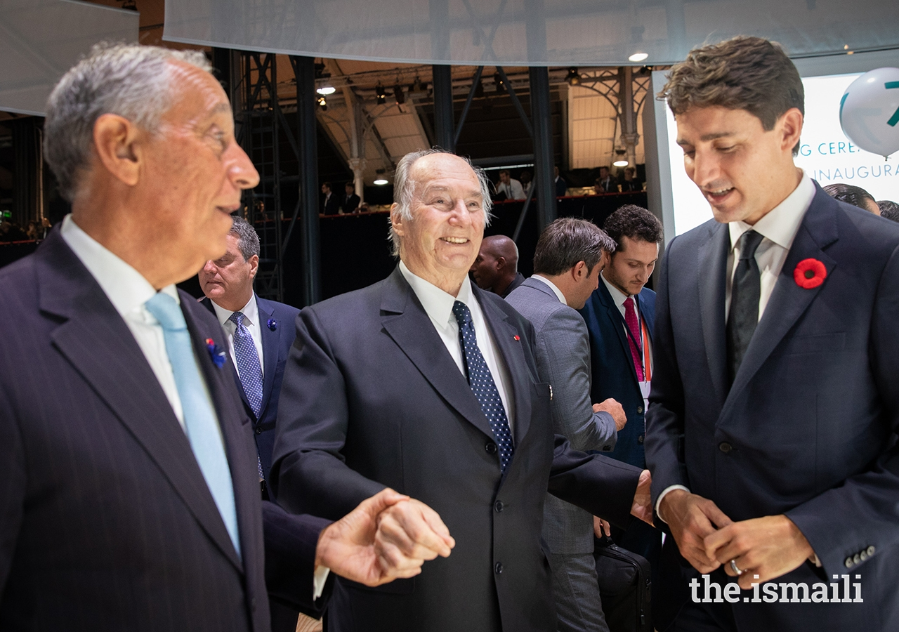 Mawlana Hazar Imam was among over 60 world leaders for the opening session of the inaugural Paris Peace Forum. Here he greets President de Sousa of Portugal and Prime Minister Justin Trudeau of Canada.