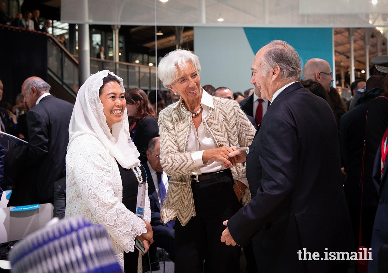 Mawlana Hazar Imam greets Mrs Christine Lagarde, the Chairwoman of the International Monetary Fund.