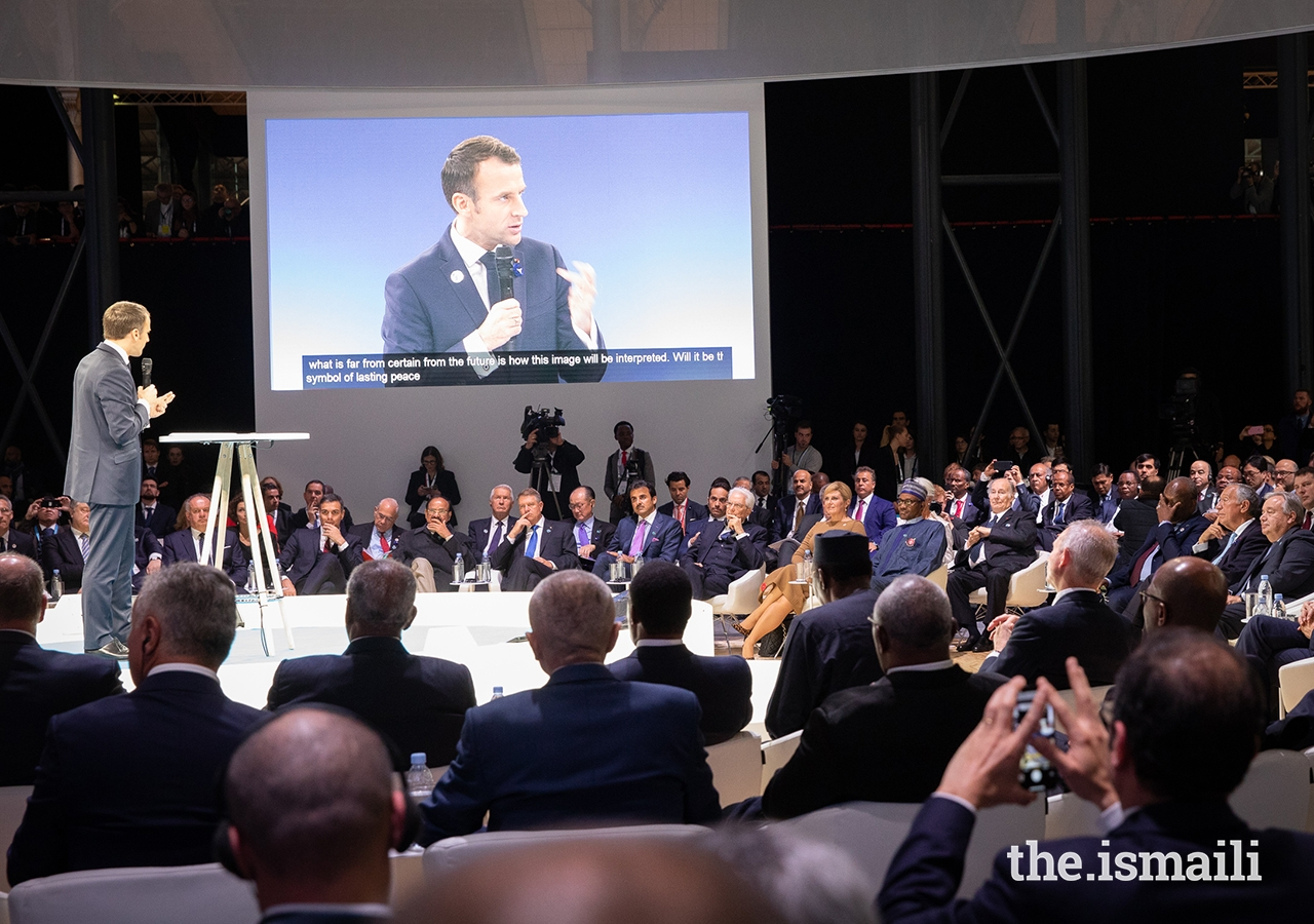 France's President Emmanuel Macron delivers his introductory remarks at the inaugural Paris Peace Forum as Mawlana Hazar Imam and over 60 world leaders are gathered for the opening session.