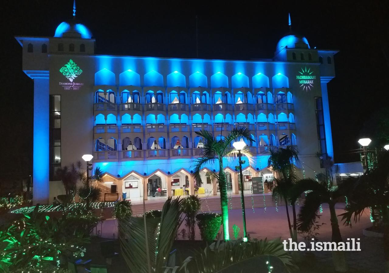 Yuwan Jamatkhana in Mumbai decorated with lighting to celebrate Mawlana Hazar Imam's visit to India