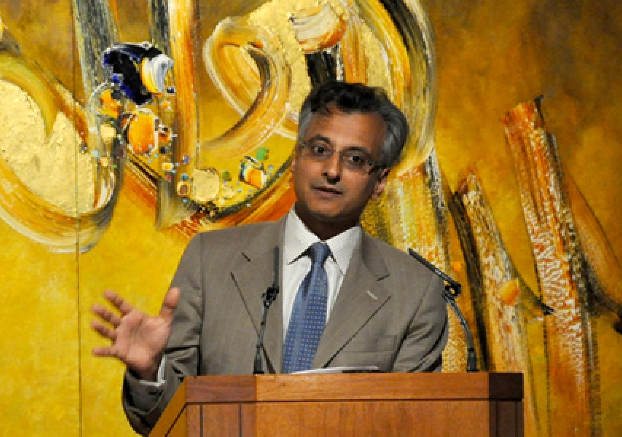 Abyd Karmali, Managing Director and Global Head of Carbon Markets at Bank of America Merrill Lynch, speaking at the Ismaili Centre, London.