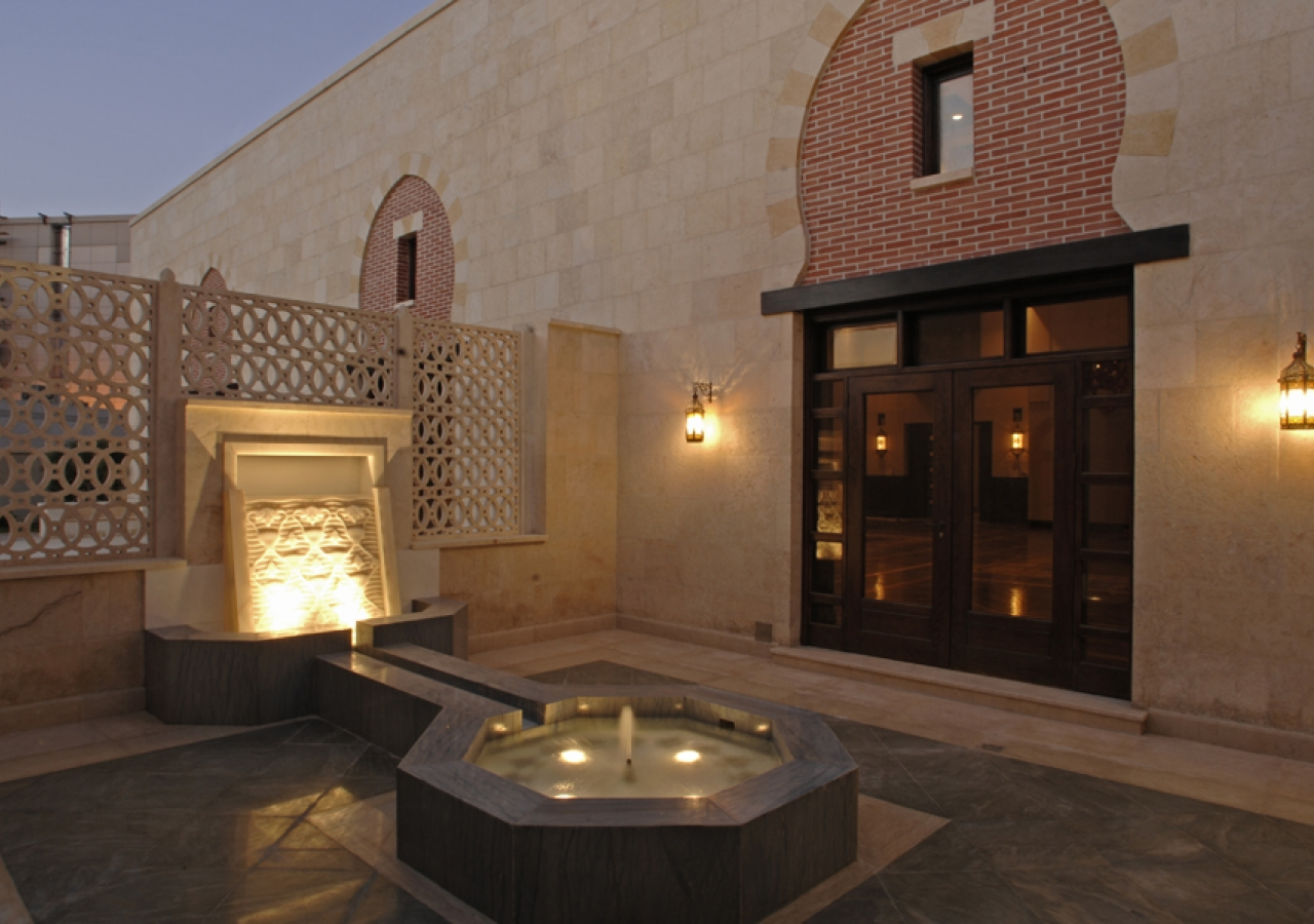 The salsabil water feature is the centrepiece of the intimate Morning Prayer Hall Courtyard.