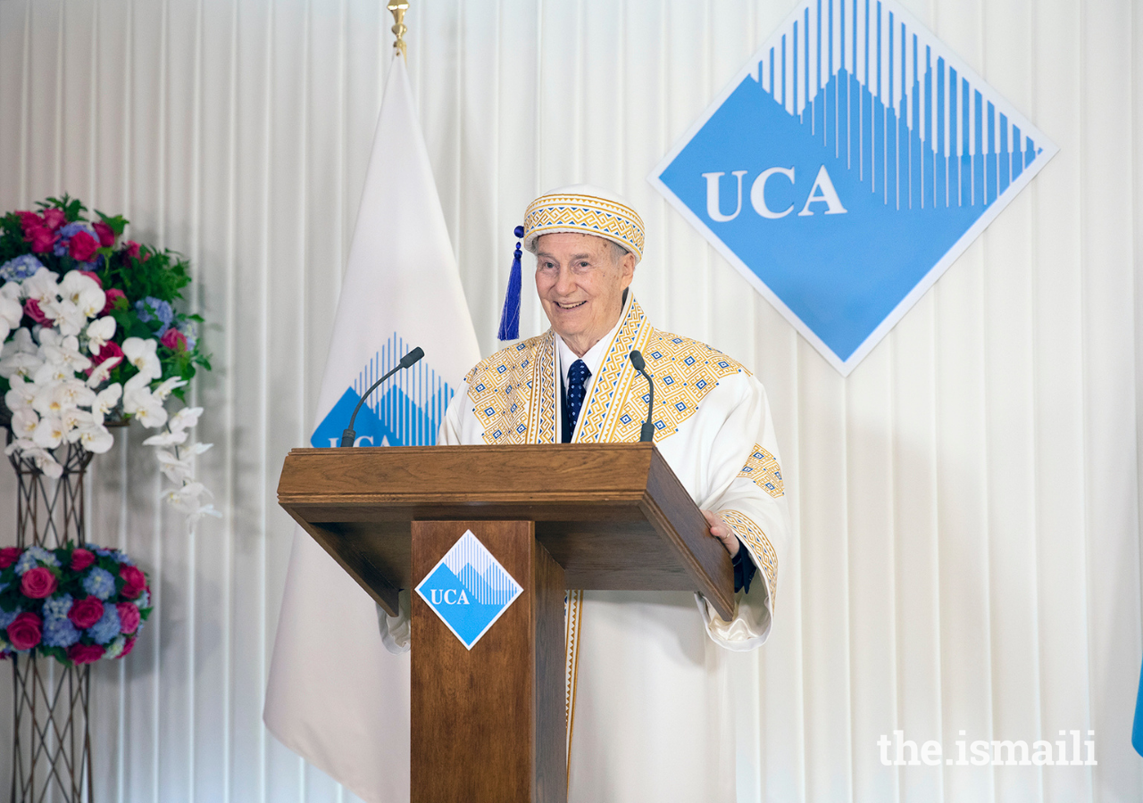 Mawlana Hazar Imam addresses graduands, faculty, staff, and supporters at the convocation ceremony of the University of Central Asia's first graduating class.