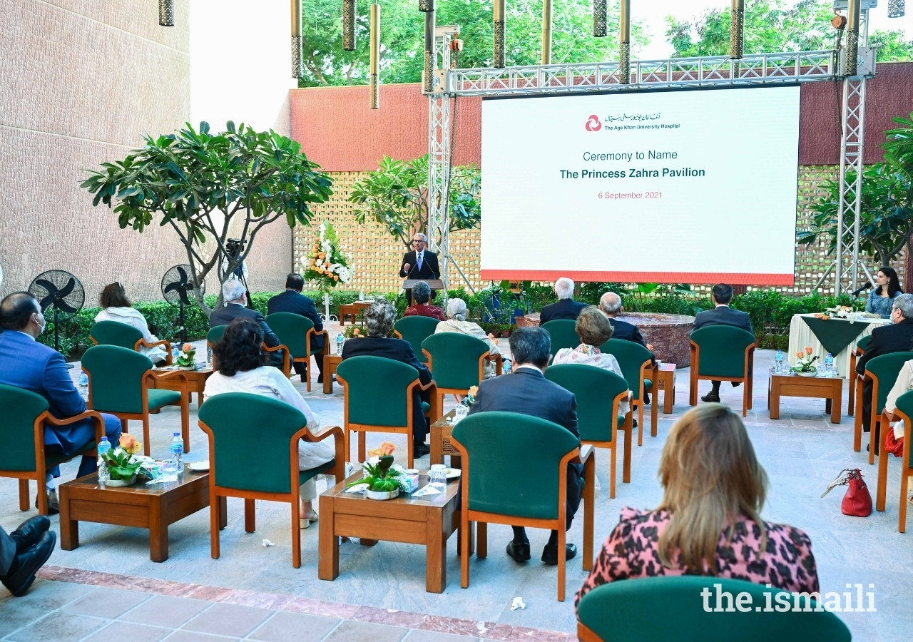Guest gathered at the ceremony to name the Princess Zahra Pavilion at the Aga Khan University Hospital in Karachi on 6 September 2021.