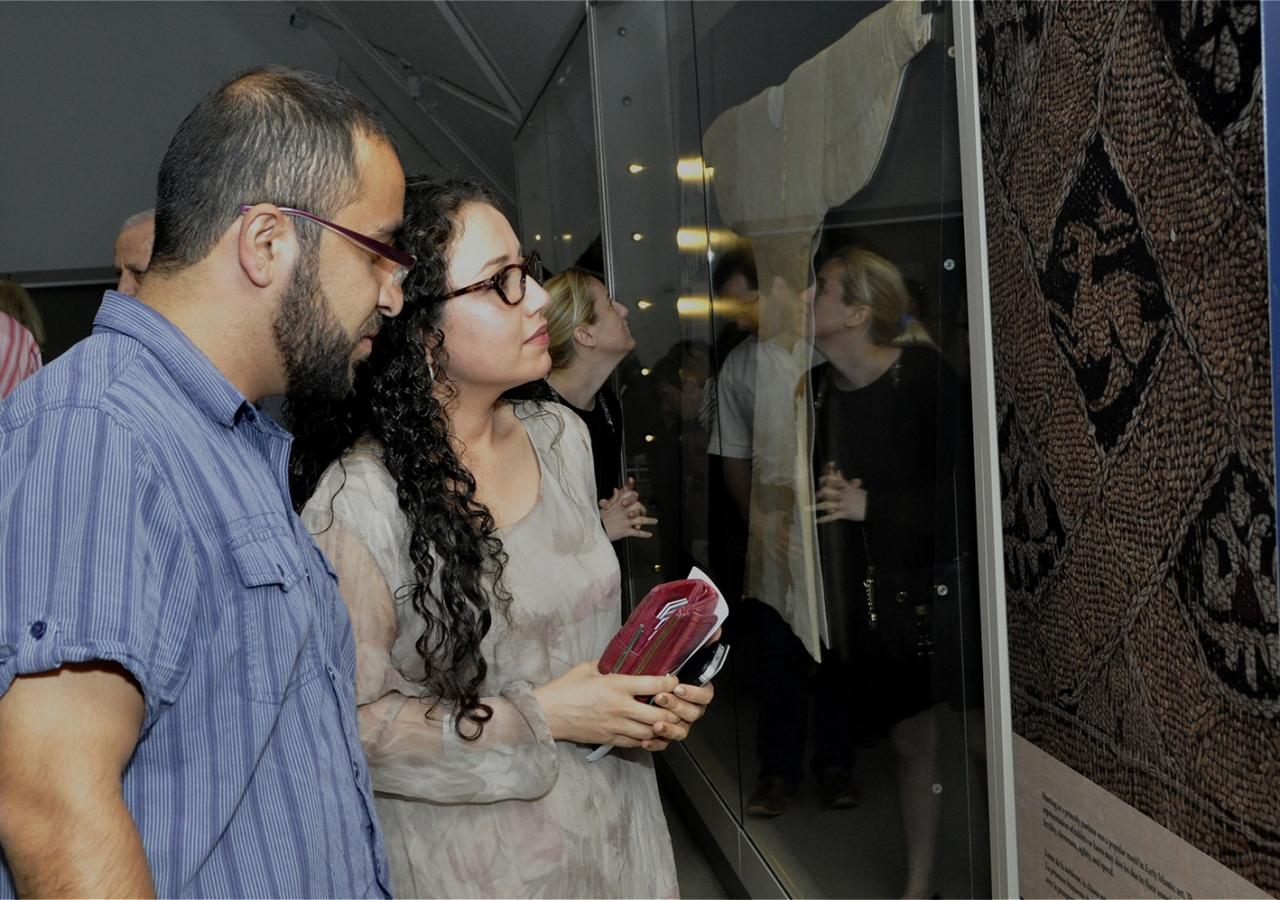 Guests tour the ROM's 'Cairo Under Wraps' exhibition ahead of Professor Nasser Rabbat's lecture. Ibrahim Meru