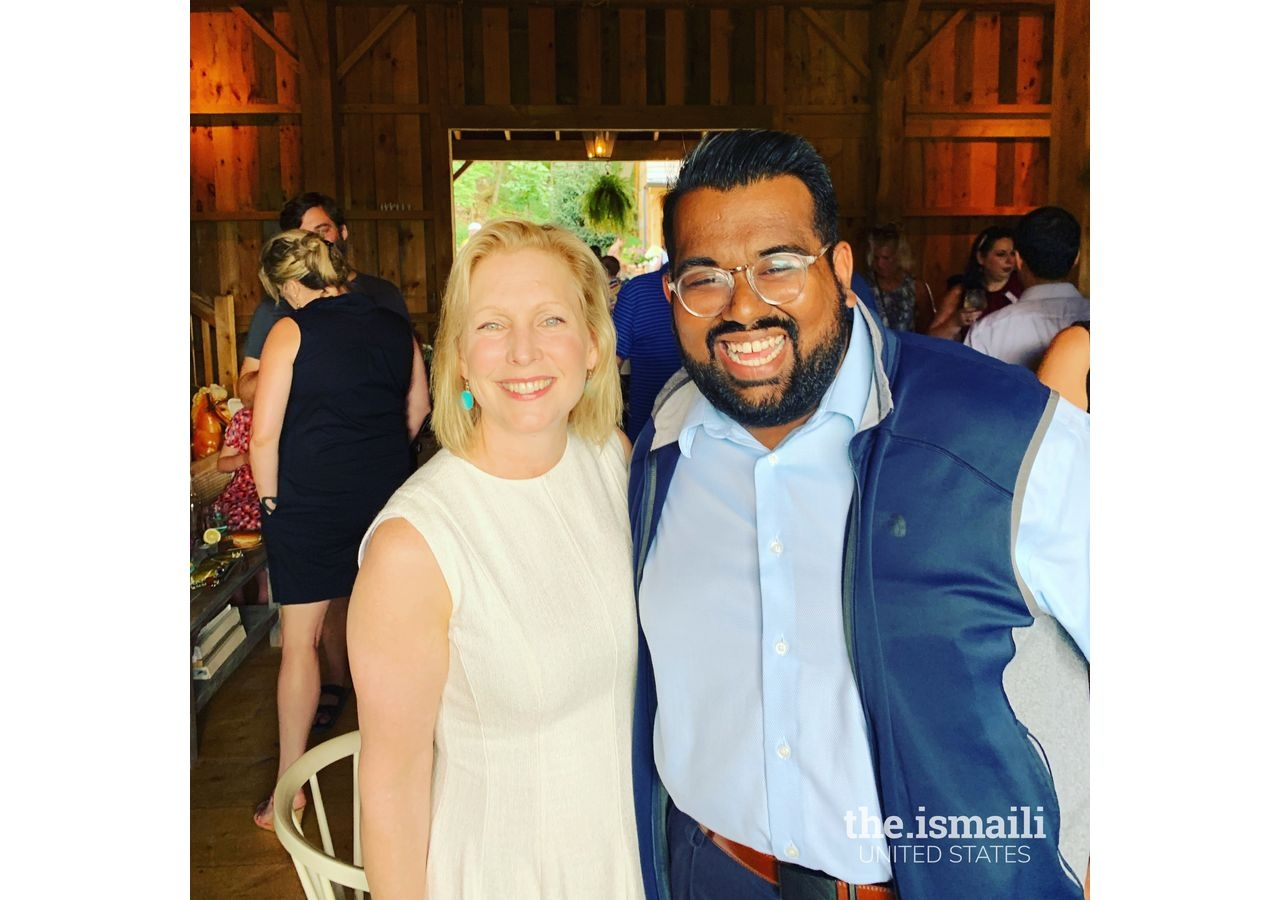 Rayhaan with his former boss, US Senator Kirsten Gillibrand (D-NY), at a campaign event in Albany, NY in June 2019.
