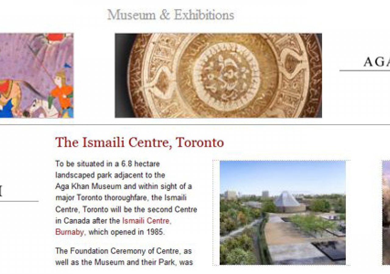 AKDN.org and TheIsmaili.org have launched new web resources focused on the Aga Khan Museum and the Ismaili Centre, Toronto that promise to be useful and informative both within and outside the Jamat.