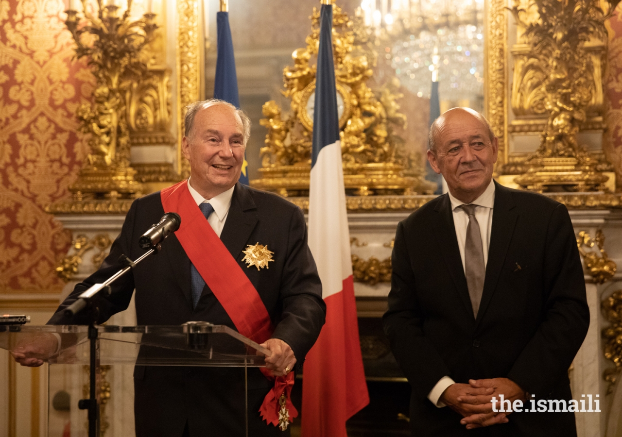 Mawlana Hazar Imam expresses his thanks to the French government for their partnership after receiving the Grand Cross of the Legion of Honour (Grand-croix dans l'Ordre national de la Légion d'honneur).