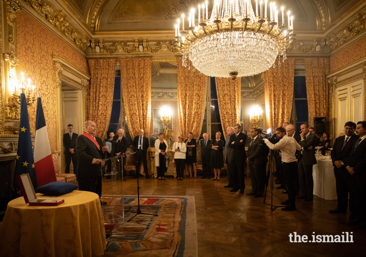 Mawlana Hazar Imam addresses the gathering after the ceremony at the Quai d'Orsay where he was presented with the Grand Cross of the Legion of Honour (Grand-croix dans l'Ordre national de la Légion d'honneur).