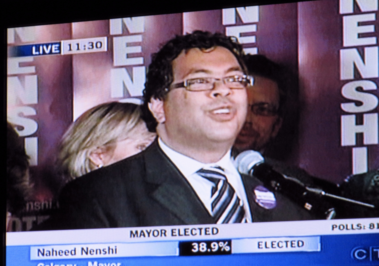 Following a tight three-way race, CTV News declares Nenshi elected as Mayor of the City of Calgary.