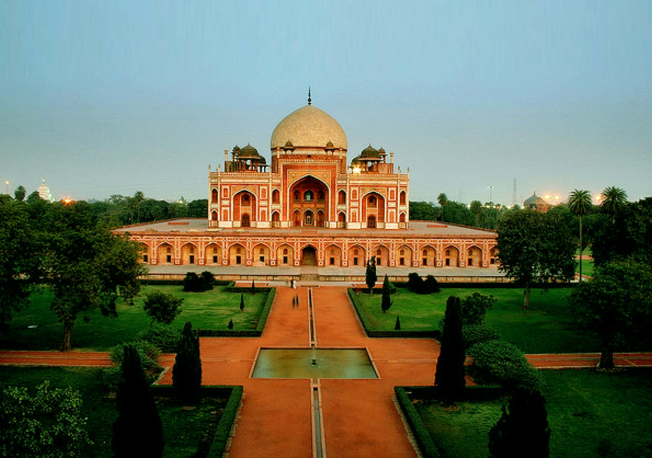 The grandeur of Humayun's Tomb and its surrounding gardens in Delhi, India.