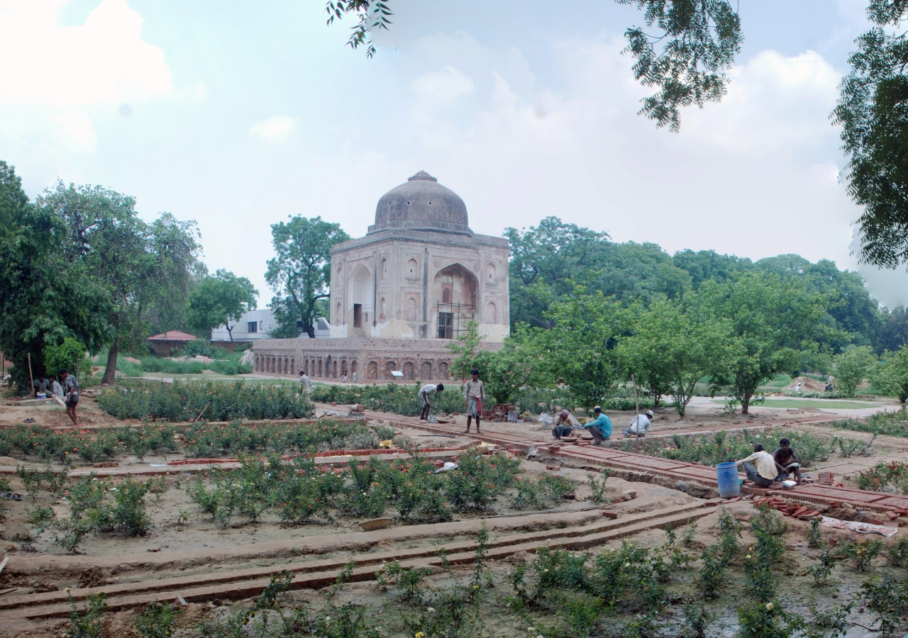 Panoramic view of ongoing landscape at the Lakkarwala Burj in Sunder Nursery.