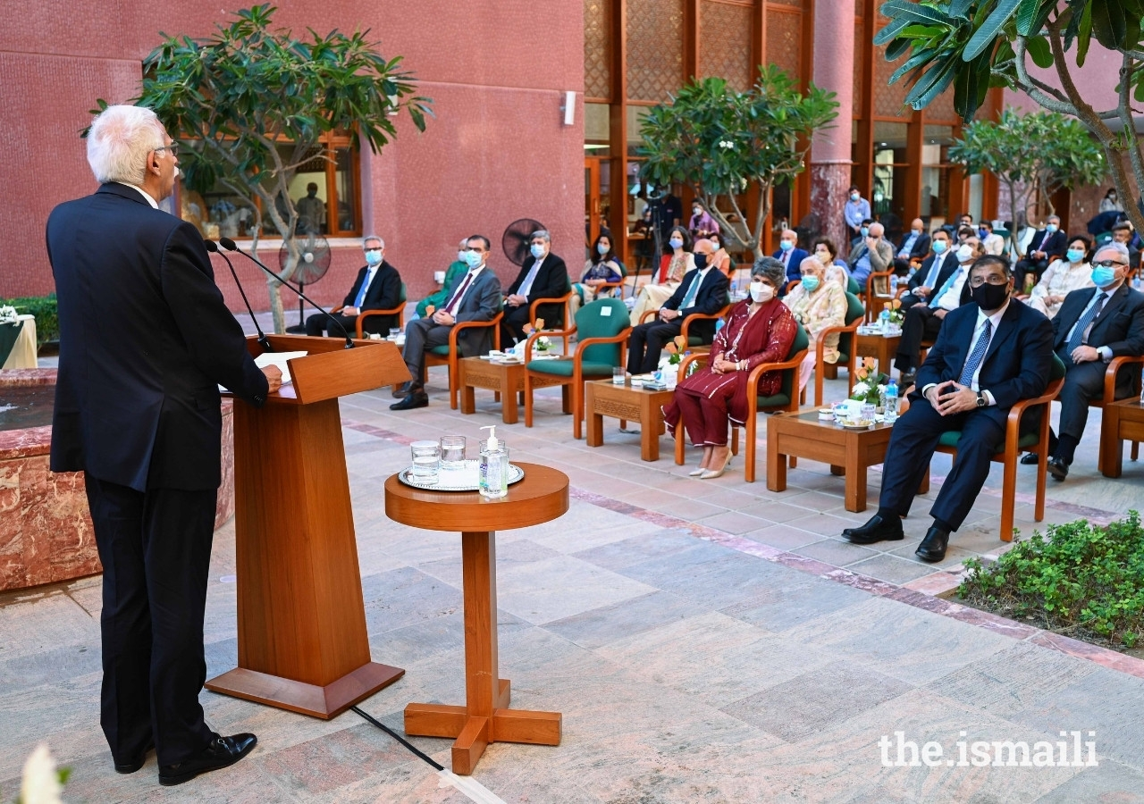President Firoz Rasul addresses the audience at the ceremony to name the New Private Wing at the Aga Khan University Hospital in Karachi as the Princess Zahra Pavilion.