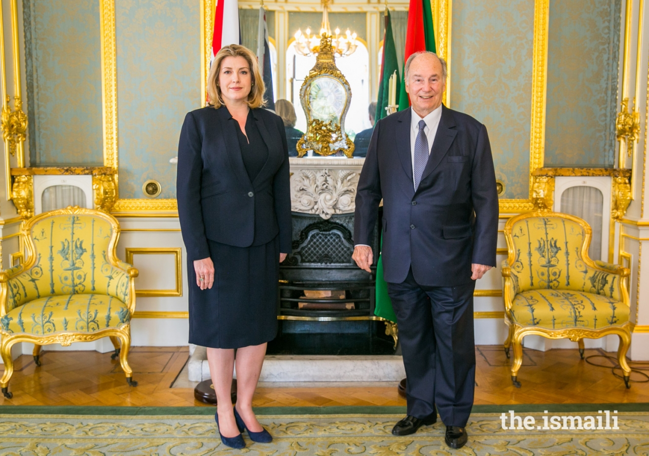 Mawlana Hazar Imam and The Rt Hon Penny Mordaunt, Secretary of State for International Development and Minister for Women and Equalities, at Lancaster House.