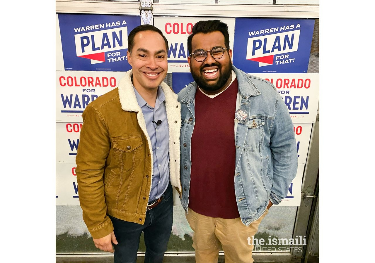 Rayhaan with former US Secretary of Housing and Urban Development, Julian Castro, (D-TX) at a Warren campaign event in Denver, CO.