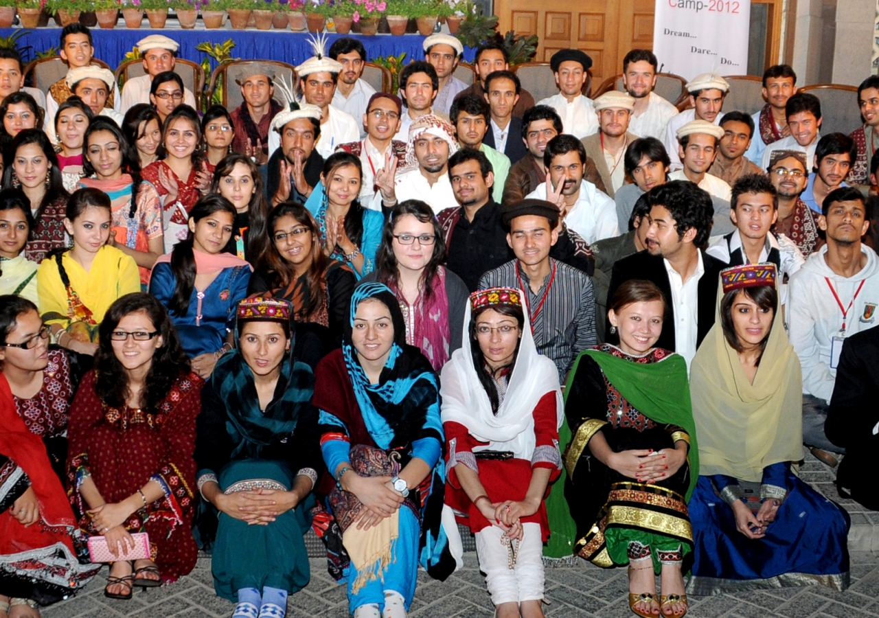Participants at National Youth Camp 2012 in Karachi come together for a group photograph.