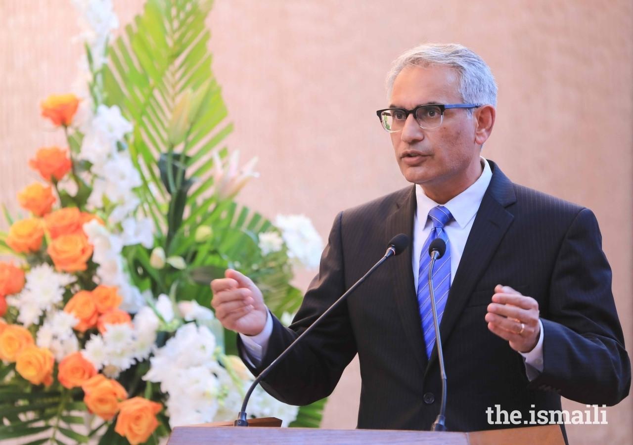 Dr Shahid Shafi, CEO of the Aga Khan University Hospital, Karachi delivers closing remarks at the naming ceremony of the Princess Zahra Pavilion.