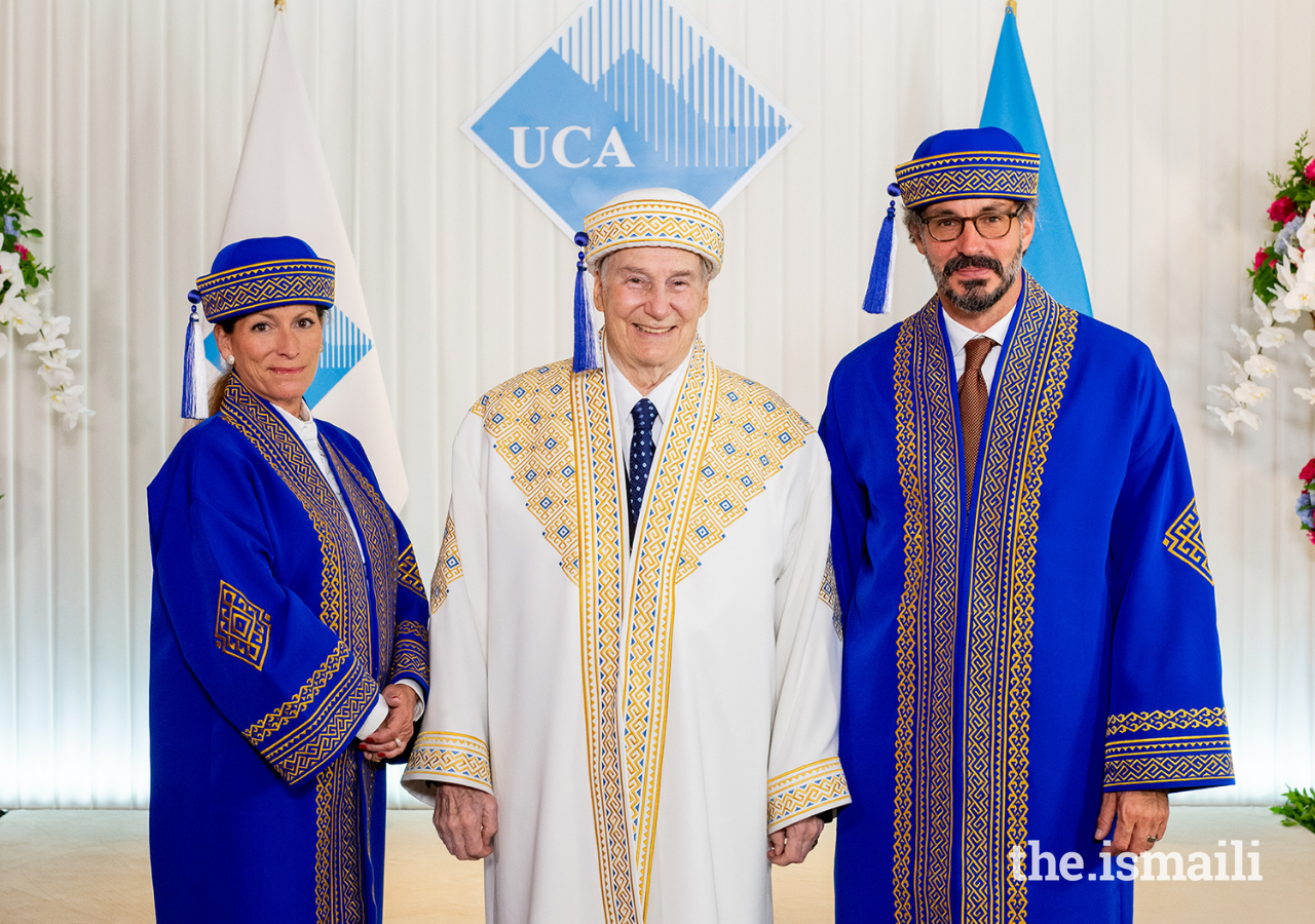Mawlana Hazar Imam, Chancellor of the University of Central Asia, with Princess Zahra and Prince Rahim, members of the Board of Trustees.