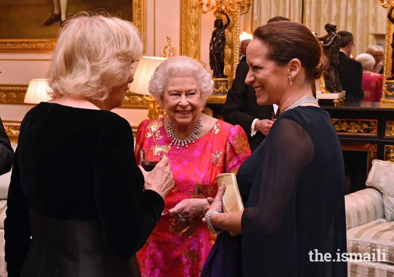 Her Majesty the Queen, Her Royal Highness the Duchess of Cornwall and Princess Zahra share a light moment at a dinner hosted by Her Majesty at Windsor Castle.