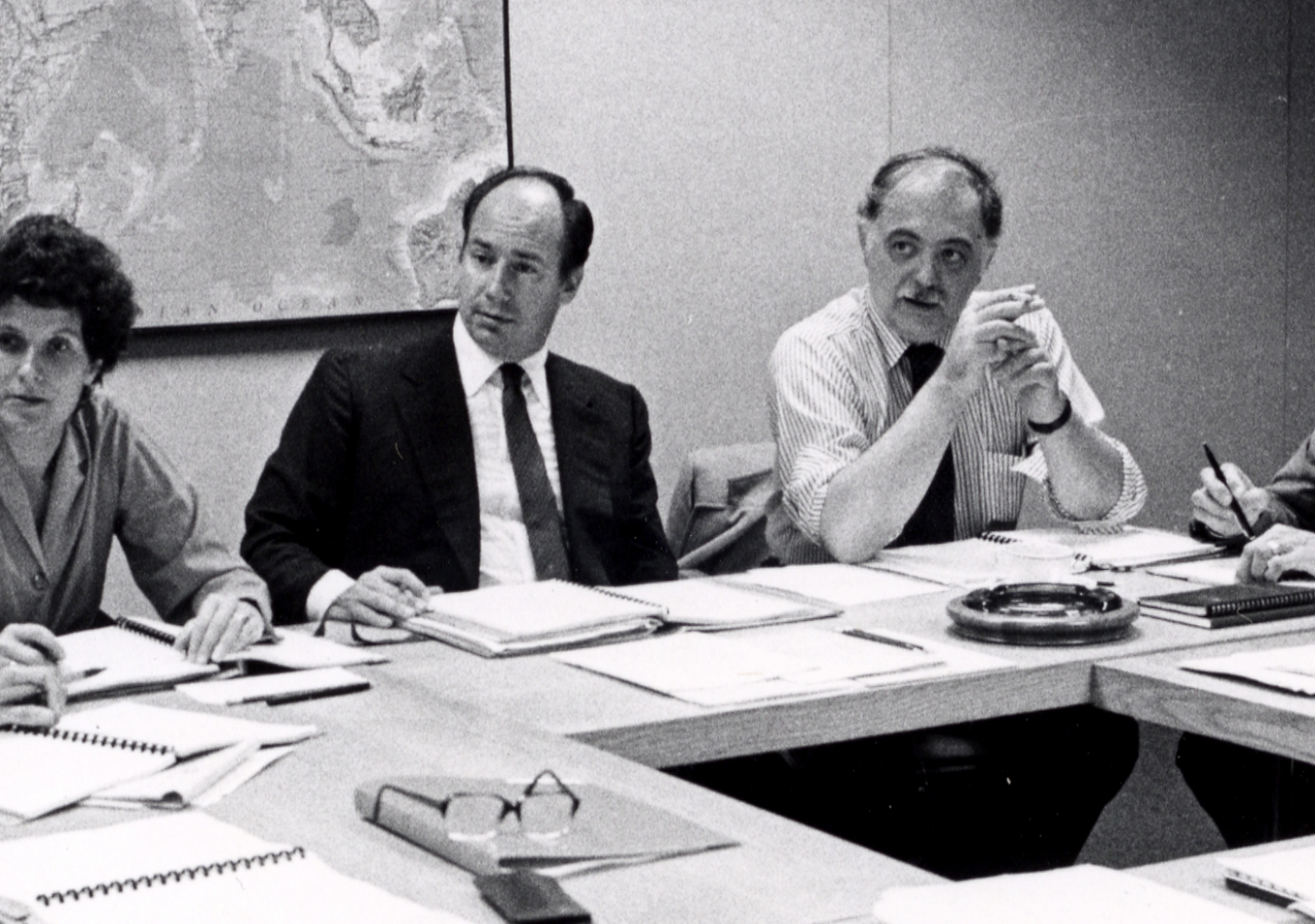 Members of the first Aga Khan Award for Architecture steering committee deliberating in Boston, in 1979.