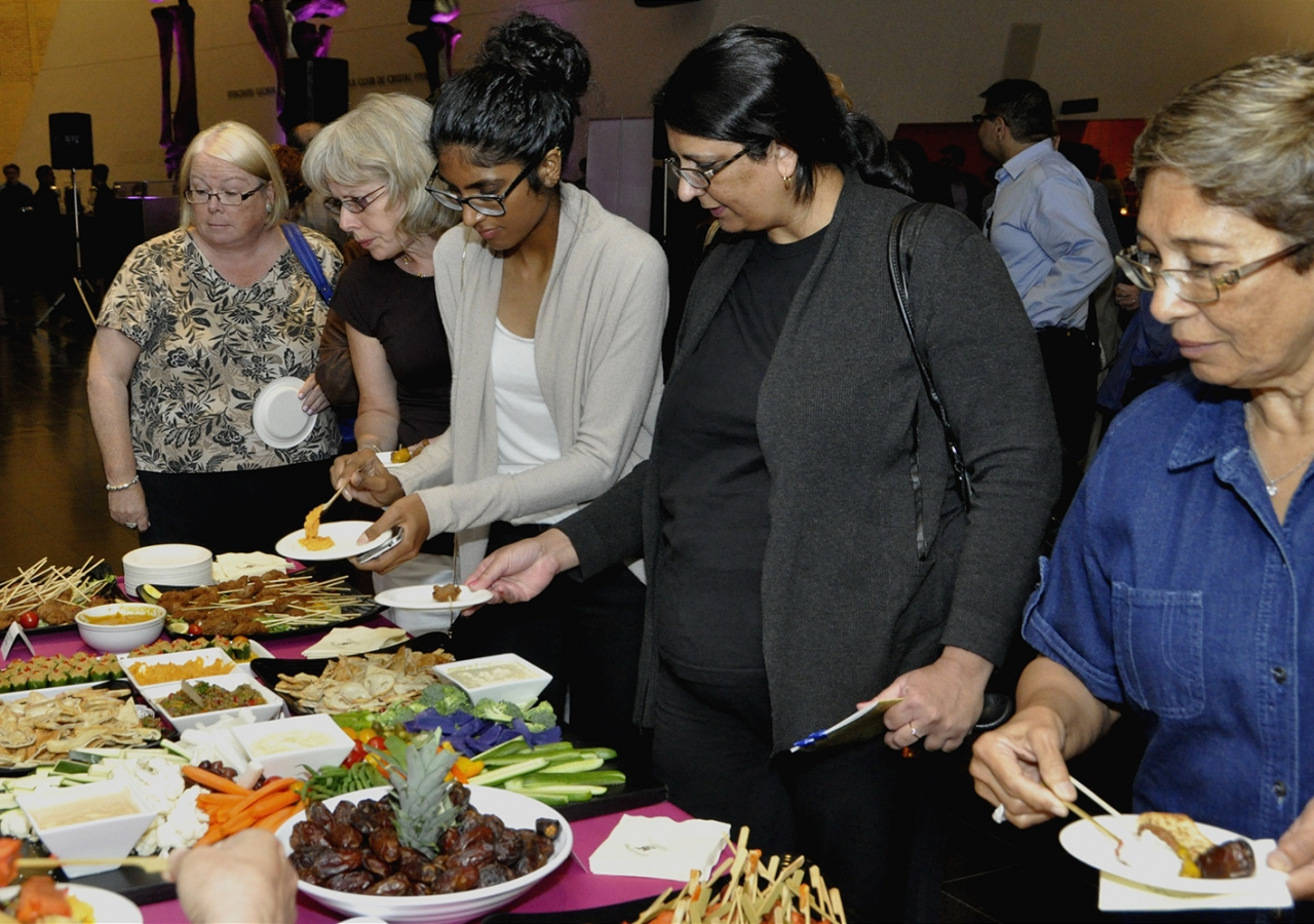 Guests enjoy a Cairene themed iftar in the lobby of the Royal Ontario Museum. Ibrahim Meru