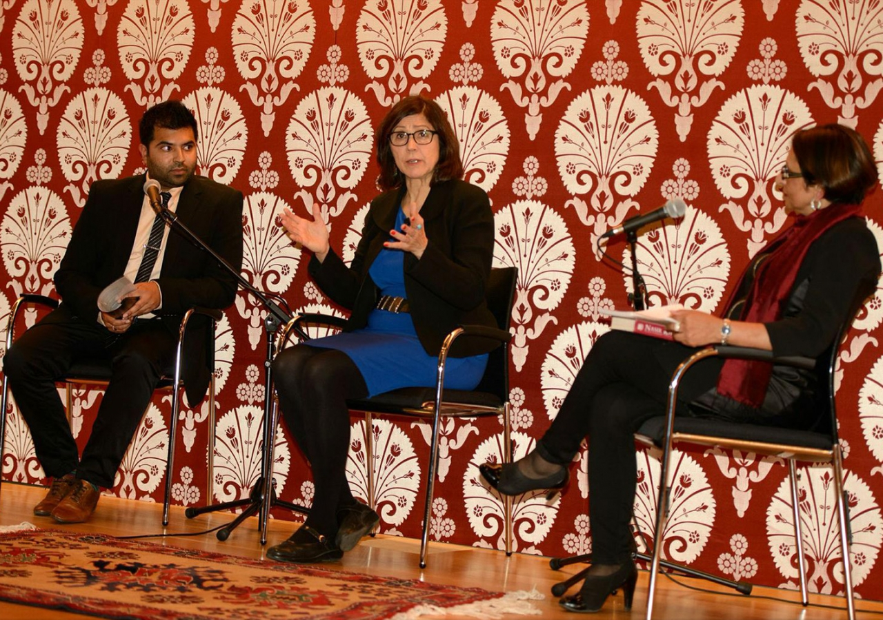 Dr Alice Hunsberger in a panel discussion with Riz Muhammedi and Roshan Esmail. Alnoor Meralli