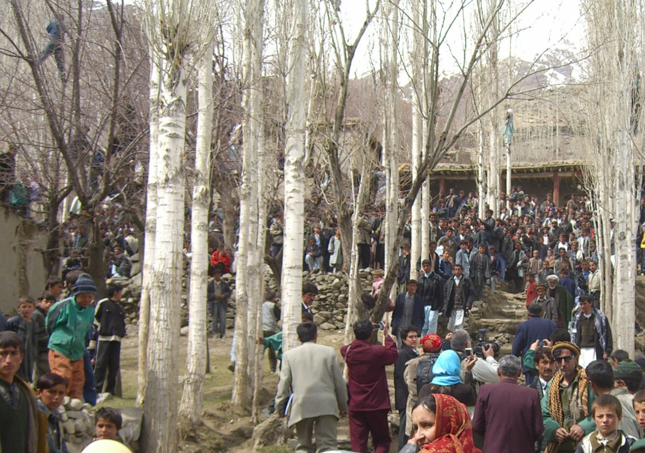Audience members eagerly await the start of the concert in Shugnan, Afghanistan.
