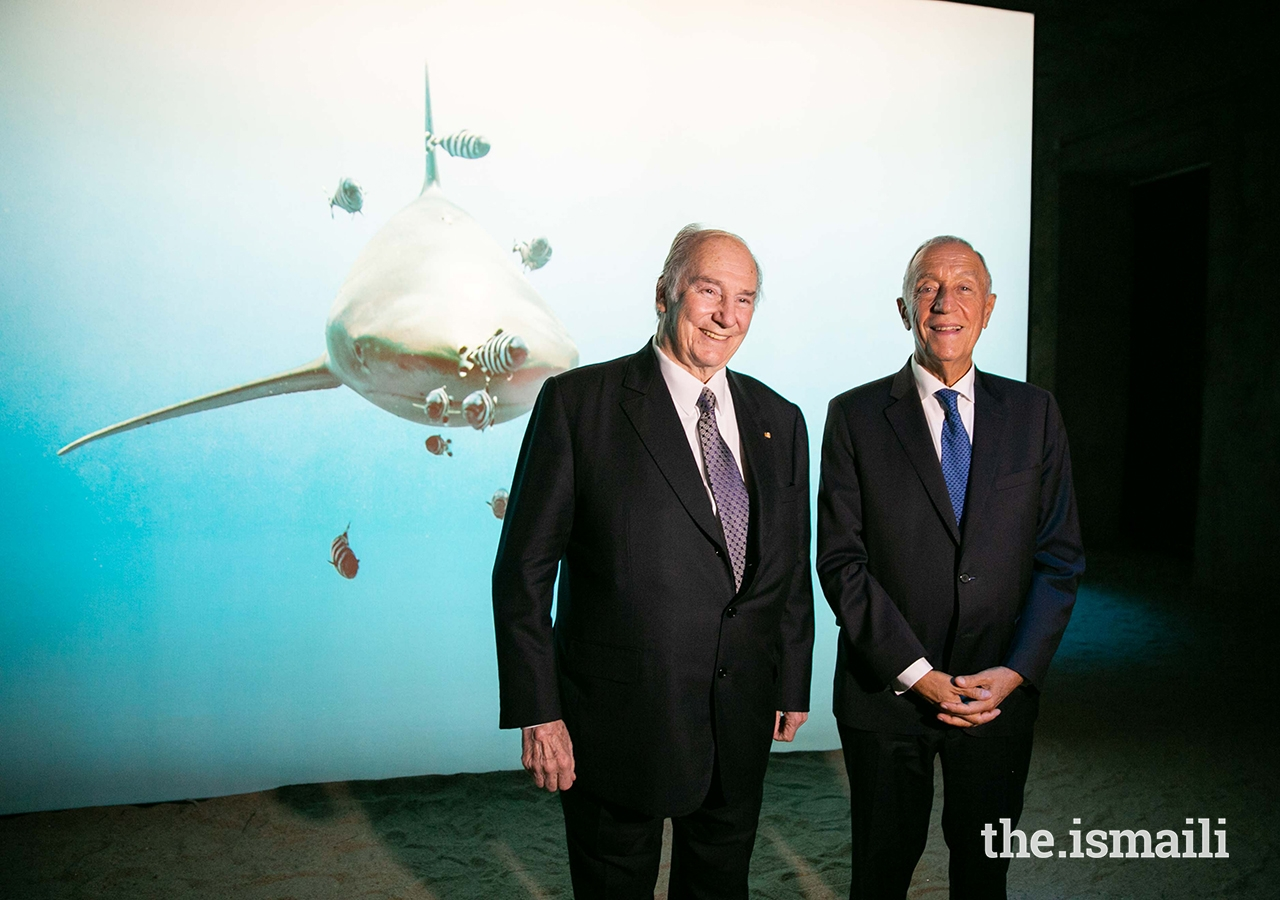 Mawlana Hazar Imam and President Marcelo Rebelo de Sousa at The Living Sea photo exhibition at the National Museum of Natural History and Science in Lisbon.