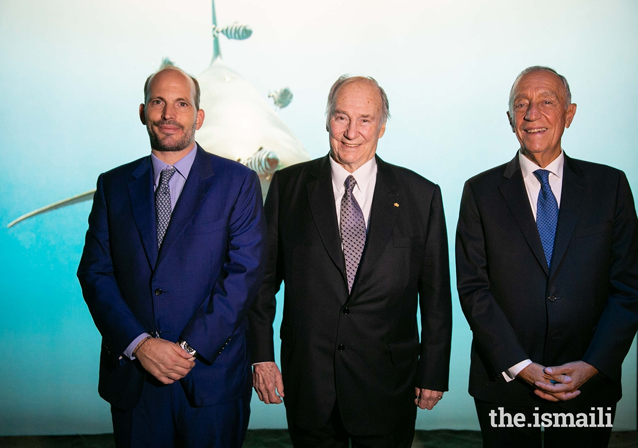 Prince Hussain, Mawlana Hazar Imam and President Marcelo Rebelo de Sousa at The Living Sea photo exhibition in Lisbon.