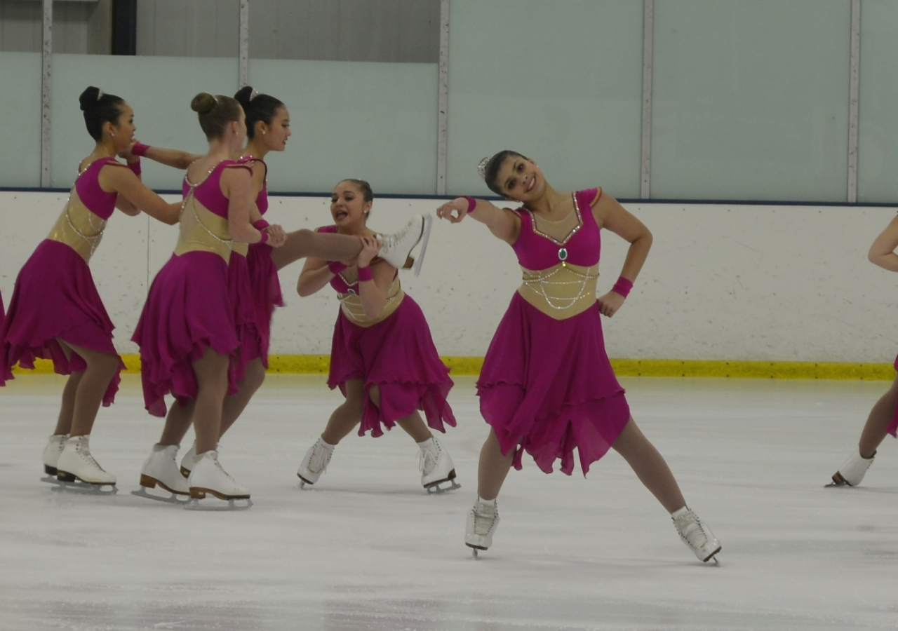 """Aliyah Shaikh with her team """"Starlights"""" at the opening exhibition at their home rink, representing the Skokie Valley Club in Buffalo Grove, Illinois 2017"""