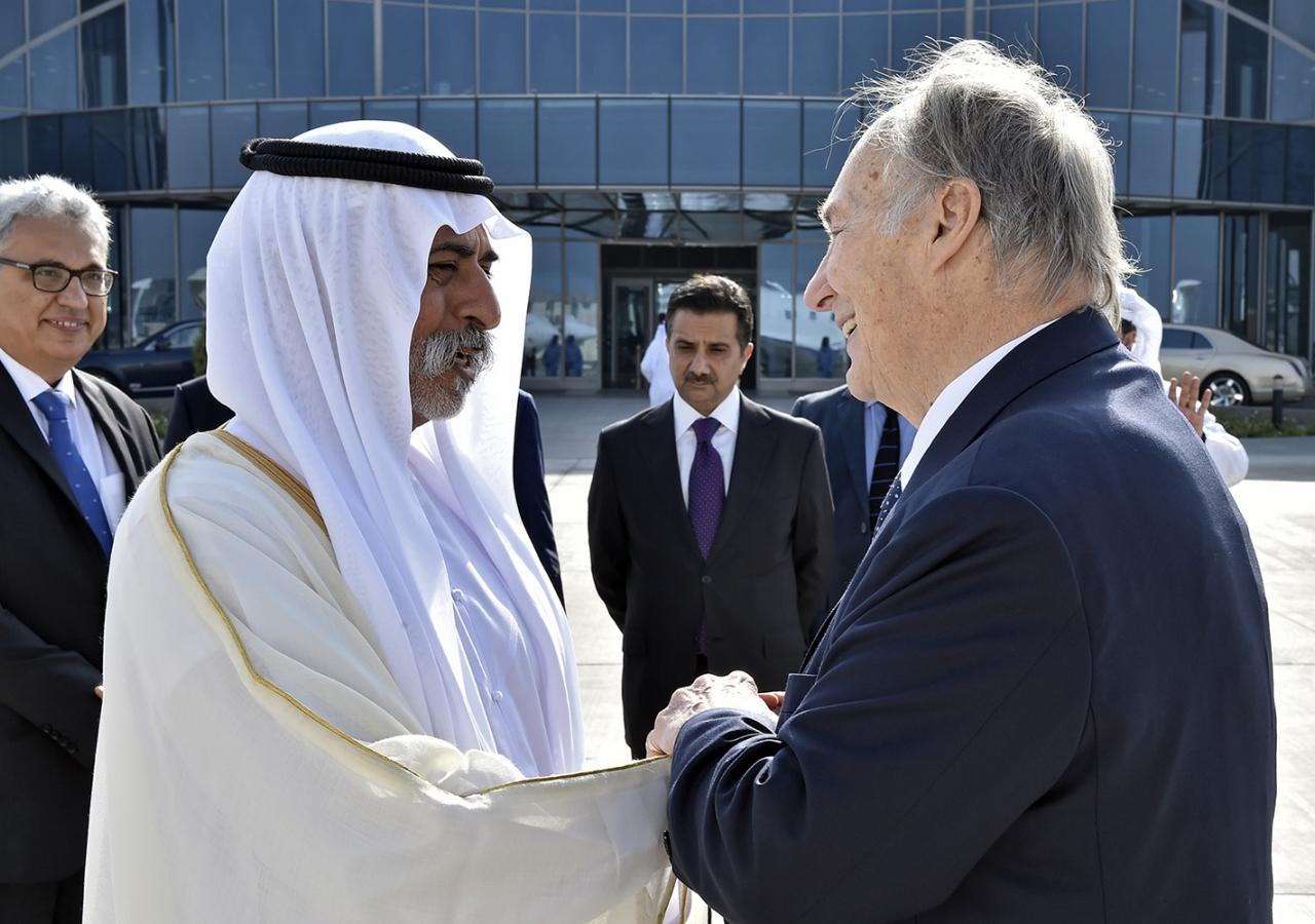 His Excellency Sheikh Nahyan bin Mubarak Al Nahyan bids farewell to Mawlana Hazar Imam as Ismaili Council President Amiruddin Thanawalla and other leaders look on. Gary Otte