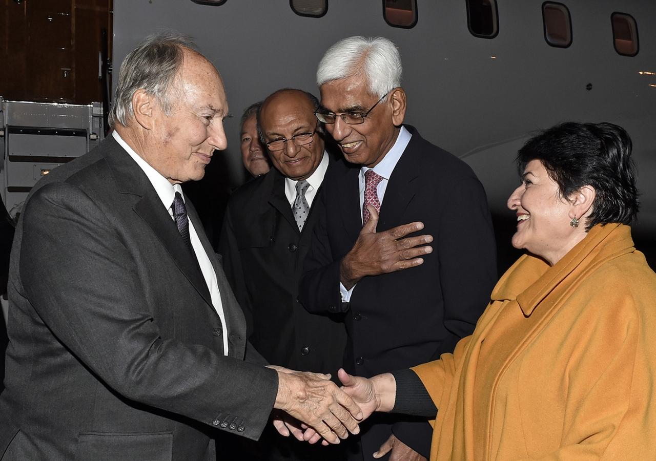Mawlana Hazar Imam is welcomed to the Kyrgyz Republic by Ismaili Council President Sharofat Mamadambarova, and AKDN Representatives for Tajikistan and Kyrgystan, Akbar Pesnani and Shamsh Kassim-Lakha, respectively. AKDN / Gary Otte