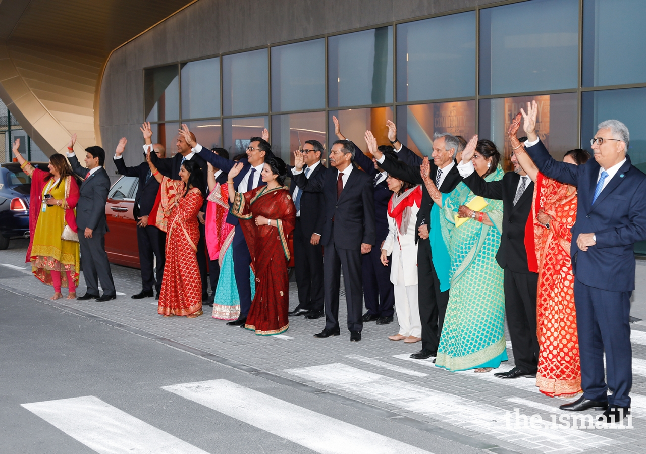 Leaders of the Jamat wave an emotional goodbye to Mawlana Hazar Imam as he departs after the four-day Diamond Jubilee visit to the UAE.
