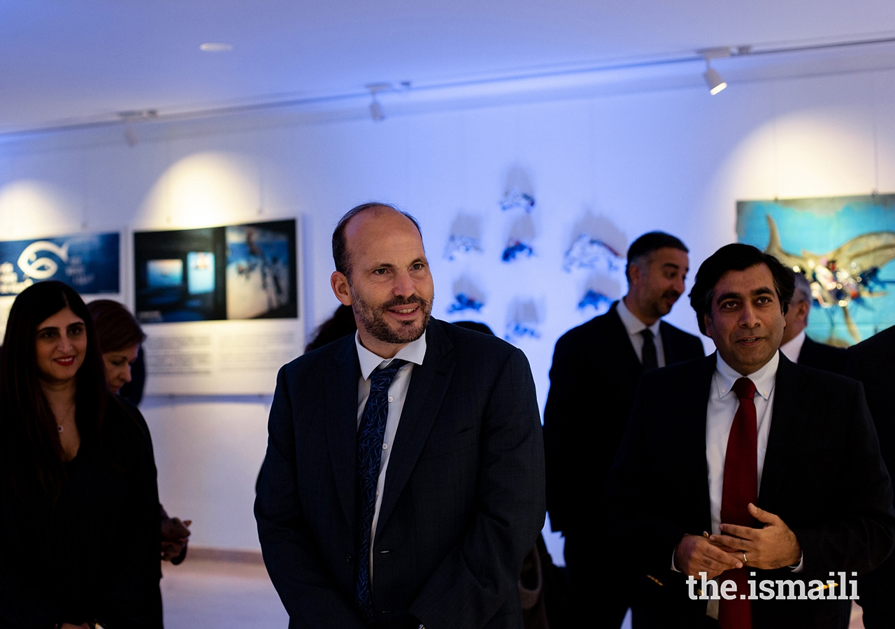 Prince Hussain at the inauguration of an exhibition of artwork designed by students from the Portugal Jamat's Talim (religious education) classes at the Ismaili Centre, Lisbon.