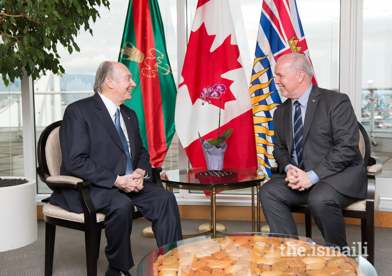 Mawlana Hazar Imam and British Columbia Premier John Horgan speak about the Ismaili community's spirit of service and pluralism.